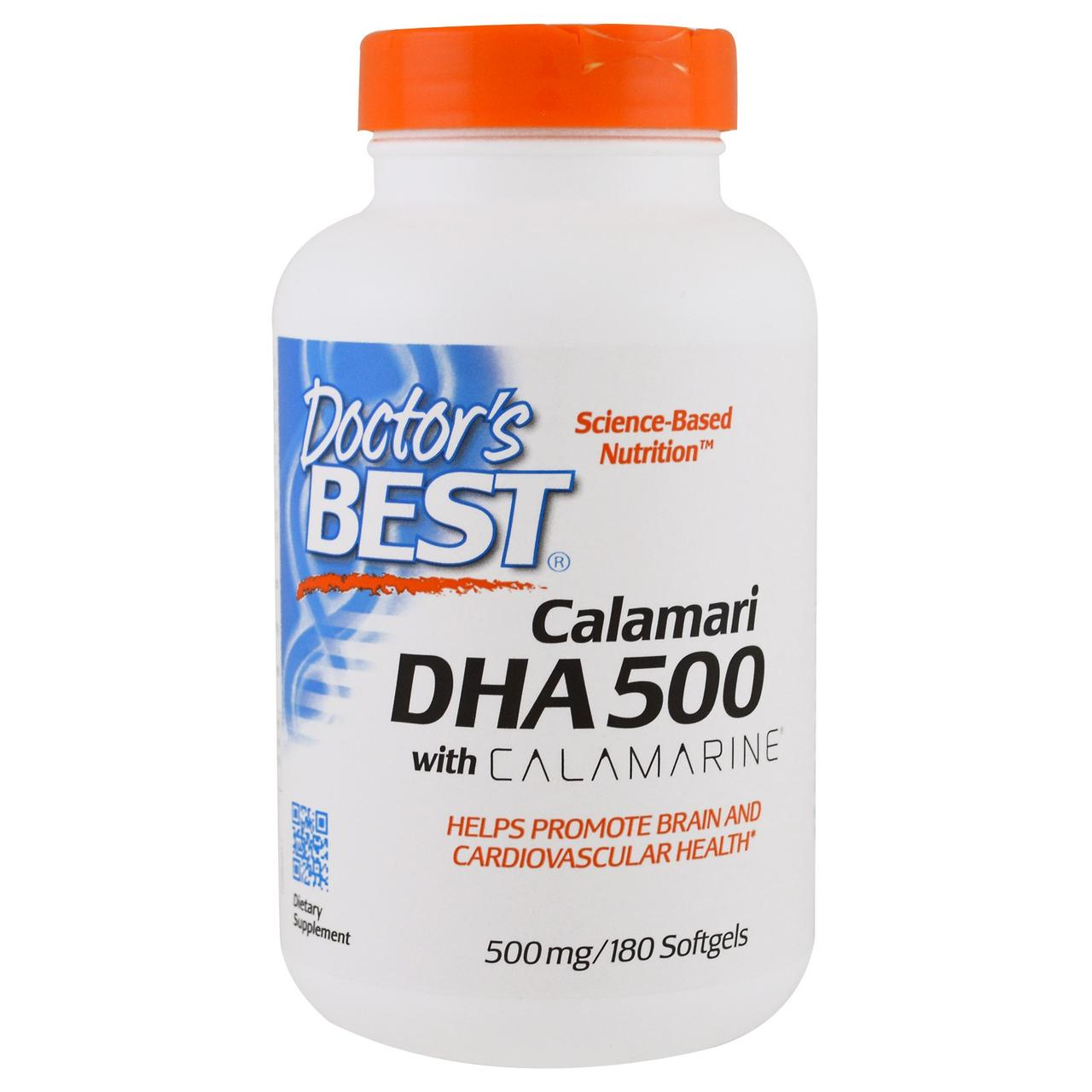 DHA (докозагексаеновая кислота) Глубоководный 500мг, Calamarine, Doctor's Best, 60 желатиновых капсул