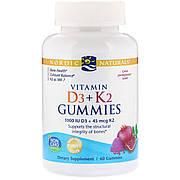 Жевательные витамины D3 + K2, Гранат, Vitamin D3 K2 Gummies, Nordic Naturals, 60 Жевательных Конфет