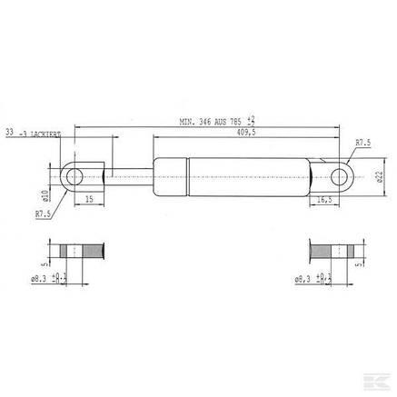 Амортизатор Claas 076365.0 B 500 мм. бункера,газовий L785-990N (CA095192), фото 2