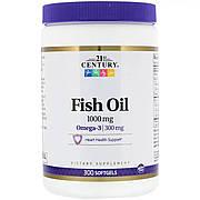 Рыбий жир, Омега-3, 1000 мг, 21st Century, 300 желатиновых капсул