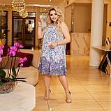 Жіночий літній сарафан вільного фасону тканина шифон + трикотажний подклад розмір: 50-52,54-56,58-60, фото 2