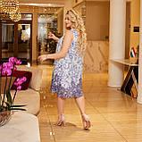 Жіночий літній сарафан вільного фасону тканина шифон + трикотажний подклад розмір: 50-52,54-56,58-60, фото 3