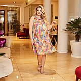 Жіночий літній сарафан вільного фасону тканина шифон + трикотажний подклад розмір: 50-52,54-56,58-60, фото 4