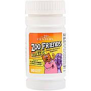 Детские Мультивитамины с Витамином C, Zoo Friends, 21st Century, 60 жевательных таблеток