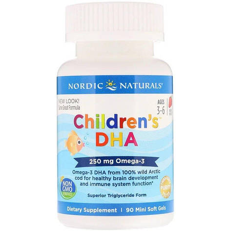 Рыбий жир (ДГК) для Детей, (3-6 лет), 250 мг, Вкус Клубники, Children's DHA, Nordic Naturals, 90 мини капсул, фото 2
