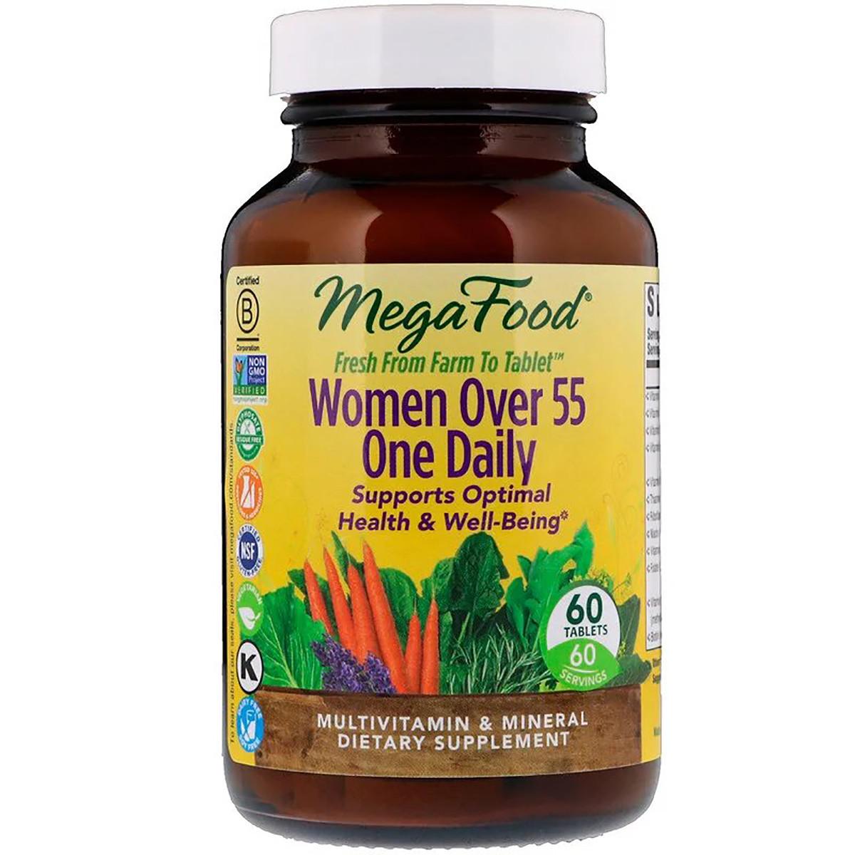Мультивитамины для женщин 55+, Women Over 55 One Daily, MegaFood, 60 таблеток