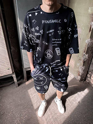 Мужской комплект костюм из футболки с шортами черного цвета с принтом