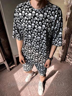 Мужской комплект костюм из футболки с шортами с принтом черепа