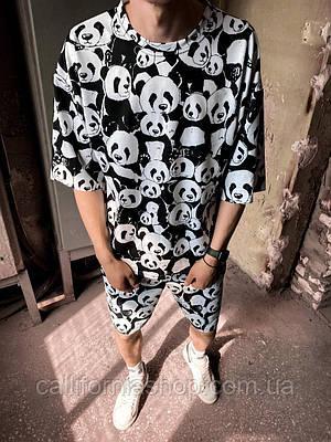 Мужской комплект с принтом панды костюм из футболки с шортами