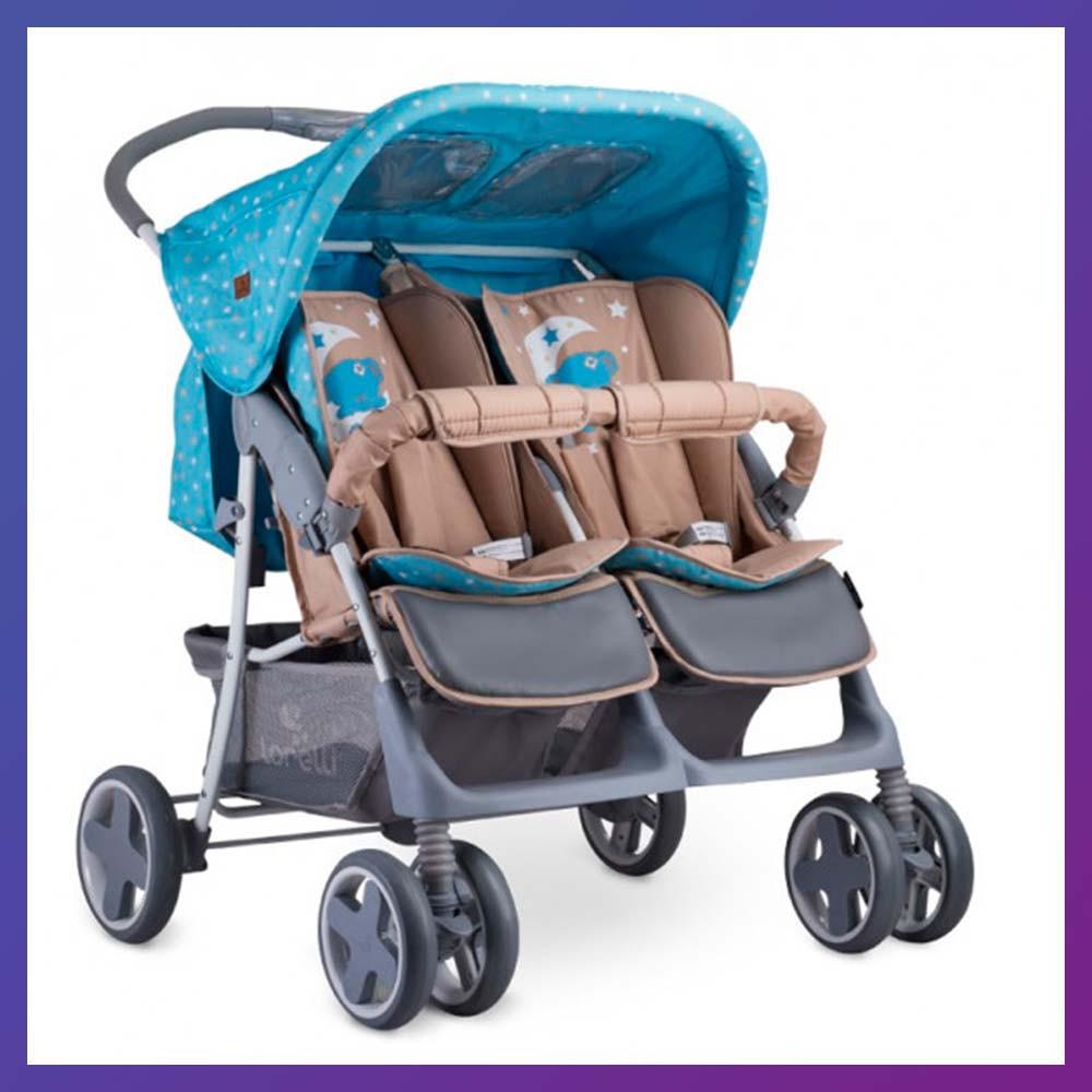 Детская прогулочная коляска-книжка для двойни с регулируемой спинкой Lorelli TWIN Blue/beige moon bear голубая