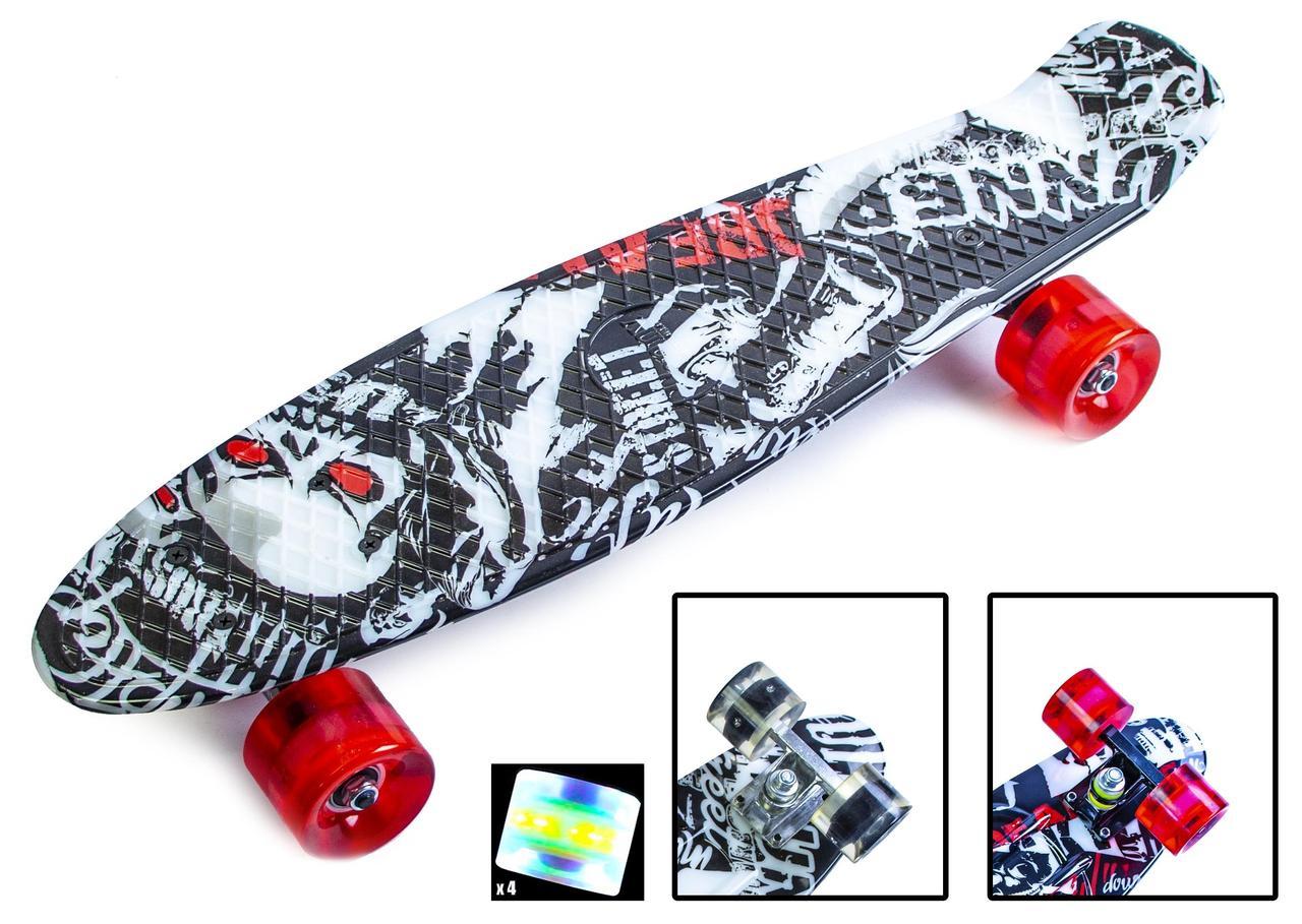 "Пенни борд скейт со светящимися колесами 22"" принт Street board"