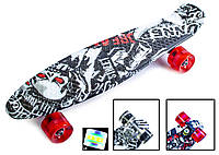 "Пенни борд скейт со светящимися колесами 22"" принт Street board, фото 1"