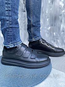 Мужские стильные кеды на липучках из натуральной кожи черного цвета Код 2925ч