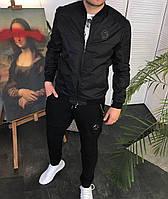 Мужская ветровка бомбер черная, весенняя мужская короткая куртка без капюшона весна/осень Philipp Plein
