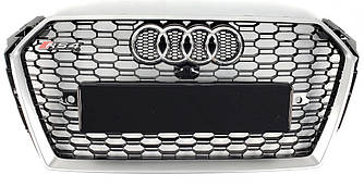 Решетка радиатора Audi A4 B9 (15-19) тюнинг стиль RS4 (серебро + черный)