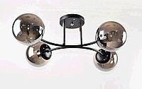 Люстра потолочная на четыре дымчатых плафона в виде шаров SC-5796/4 BK+CR