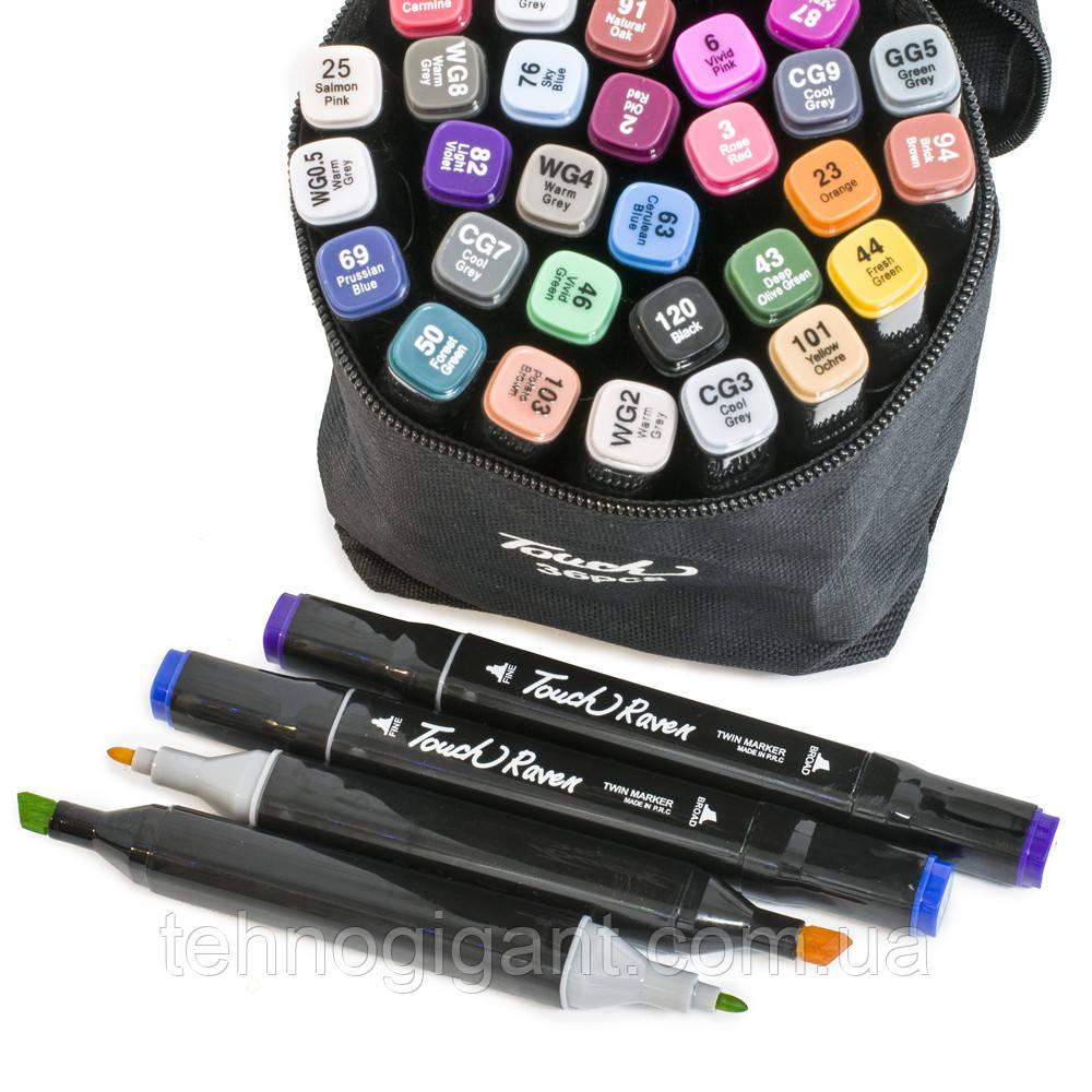 Набір скетч-маркерів 36 шт. Touch Raven для малювання двосторонні професійні фломастери для художника :