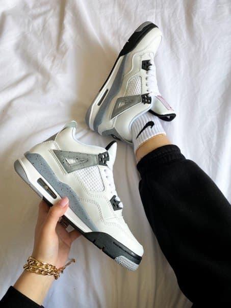 """Жіночі стильні кросівки Nike Air Jordan 4 """"White Cement"""""""