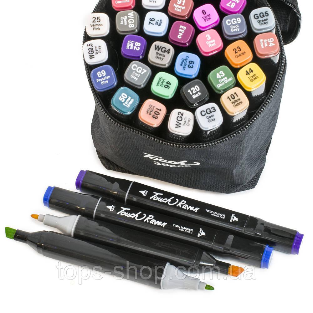 Набор скетч-маркеров 36 шт. Touch Raven для рисования двусторонние профессиональные фломастеры для художника :