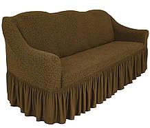 Чехол натяжной  на диван и 2 кресла из буклированного жаккарда MILANO мокко НОВИНКА!