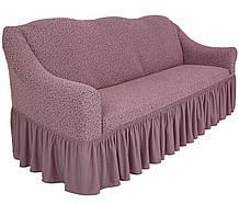 Чехол натяжной  на диван и 2 кресла из буклированного жаккарда MILANO пудровые НОВИНКА!