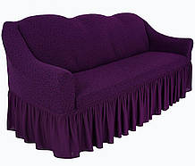 Чехол натяжной  на диван и 2 кресла из буклированного жаккарда MILANO фиолетовый НОВИНКА!