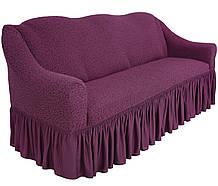 Чехол натяжной  на диван и 2 кресла из буклированного жаккарда MILANO фуксия НОВИНКА!