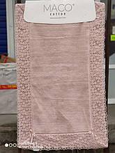 Набор ковриков люкс с кружевом для ванной комнаты Maco Cotton 2 предмета Турция розовые