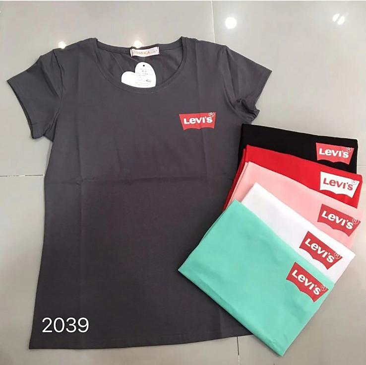 Повседневная футболка  брендовой надписью 42-46 (в расцветках)