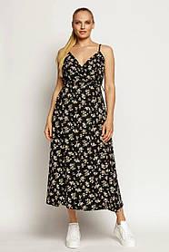 Легкий женский сарафан на запах с бретельками цвет деним, черный, больших размеров от 42 до 56