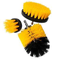 Набор щеток для шуруповерта 3 шт Черно-Оранжевые, насадка на дрель | щітка на шуруповерт