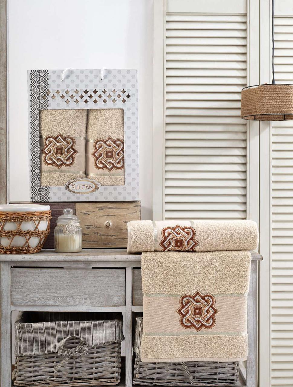 Набор люксовых махровых полотенец банное и лицевое Gulcan Турция кремовые