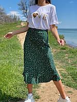 Женская летняя юбка в горошек зеленый