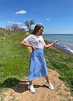 Женская летняя юбка в горошек голубой