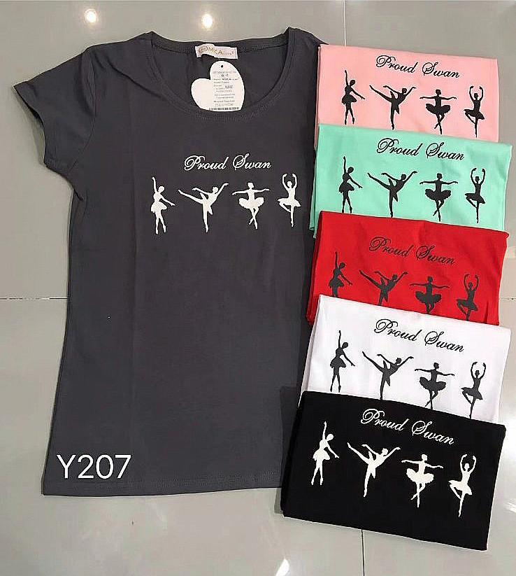 Женская футболка с балеринами 42-46 (в расцветках)