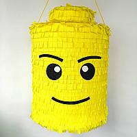 Пиньята лего lego голова бумажная для праздника Піньята лего конструктор голова паперова на день народження