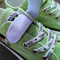 Детские кеды конверсы на липучке летние зеленые на резинке на мальчика на девочку, фото 3