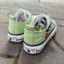 Детские кеды конверсы на липучке летние зеленые на резинке на мальчика на девочку, фото 2