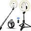Кільцева лампа Selfie Stick 16 діаметр Телефону на Тринозі L07 7332 селфи з Пультом Tripod на Штативі, фото 6