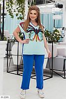 Красивый женский спортивный костюм на лето с футболкой больших размеров 50-60 арт. 40113/1
