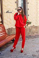Костюм женский, стильный,  красный, 1207-002