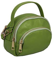Невелика шкіряна жіноча сумка Borsacomoda салатова 818.017