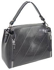 Невелика шкіряна жіноча сумка Borsacomoda сіра 805.038