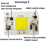 №1 COB LEd Smart IC 50w 6000K Светодиод 50w 220v светодиодная матрица 50w с драйвером на борту, фото 3