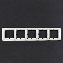 Рамка пятерная універсальна Yaweitai YW-2525 Біла