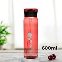 Пляшка для води CASNO 600 мл KXN-1211 Червона з соломинкою