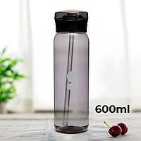 Пляшка для води CASNO 600 мл KXN-1211 Чорна з соломинкою