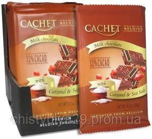 Премиум шоколад Cachet 32% Milk Chocolate Bar with Caramel & Sea Salt с морской солью и карамелью, 300гр. Бель - Чистюля в Ужгороде