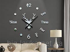 Часы наклейка Олень 3D Diy 50 см  Серебристый