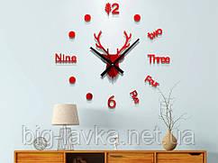 Годинник наклейка Олень 3D Diy 50 см Червоний